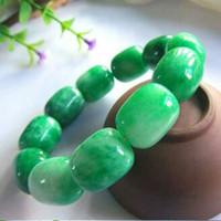 jade de 18 mm al por mayor-Pulsera esmeralda natural de la mano de 18MM / pulsera de los granos de jade / hombres de la pulsera para los hombres