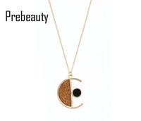 pendentif fille en bois achat en gros de-Collier de lune en bois de collier en bois délicat d'élégance Simplicity fille bois élément géométrique combinaison longue pendentif