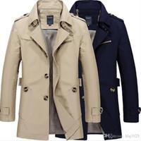 Wholesale long stylish trench coats - Fashion Stylish Men's Trench Coat 2017 Spring Men Vintage Military Coat Long Slim Man Trench Jackets Free Shipping