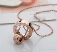 ouro rosa jóia venda por atacado-Famosa marca jewerly titanium 316l aço 18k rose banhado a ouro colar de cadeia curta colar de pingente de prata para as mulheres casal presente