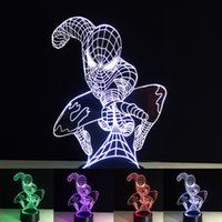 Wholesale spiderman figures for sale - Group buy 3D Spiderman Optical Night Light RGB Lights DC V USB Powered with AA Battery Bin Factory