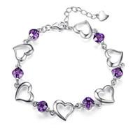 bilezik swarovski kristalleri toptan satış-Moda Gümüş Kaplama Alaşım Renkli Kristal Rhinestone Aşk Kalp Zincir Bilezik Sınıf Kadınlar Kalp Severler Swarovski Elements Takı