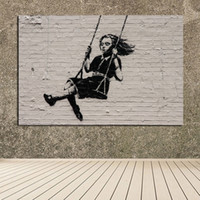 Wholesale banksy oil paintings - Oil Painting Wall Painting Living Room Paintings On Canvas Banksy Street Art Modern No Frame Picture