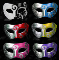 Wholesale venetian prince for sale - Group buy New Man Retro Roman Greek Prince King Warrior Mask Venetian Mardi Gras Masquerade Party Half Face Mask