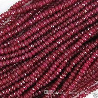 Wholesale Faceted Jade - latest technology 5 strands Natural 2x4mm Beautiful faceted red ruby jade rondelle DIY Loose beads 15""