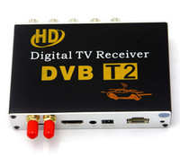 Wholesale dvb car digital online - HD Car Digital TV Tuner DVB T2 Receiver Box DVB T2 MPEG4 H Mobile Digital TV for Russia Columbia Thailand Antennas