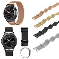 samsung-armband großhandel-22mm magnetische milanese schleife für samsung gear s3 classic s3 frontier uhrenarmband armband edelstahlband schwarz splitter