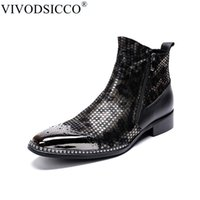 Wholesale cowboy boots wedding dress for sale - Group buy VIVODSICCO Fashion Men Ankle Boots Pointed Toe Botas Hombre Zip Botas Militares Wedding Dress Shoes Mens Cowboy Boots Masculina