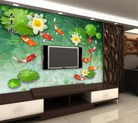 3d schlafzimmer design großhandel-Benutzerdefinierte 3D Wallpaper Design Koi Goldfisch Foto Küche Schlafzimmer Wohnzimmer Wandbilder Papel De Parede Para Quarto