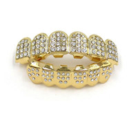 Wholesale dental jewelry - Gold Color Iced Out Teeth Grin Top Bottom Bling Men Women Jewelry New