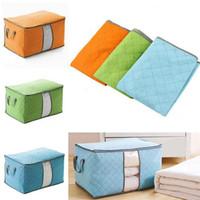 Wholesale organizer bamboo - Portable Storage Box Bamboo Charcoal Clothing Pouch Holder Organizer Non Woven Pouch Pillow Storage Bag Box FFA393