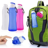Wholesale collapsible plastic bottle - Creatives Foldable Silicone Drink Sport Water Bottle Cup Double Leak Proof Camping Travel Plastic Collapsible Bicycle Bottle=---