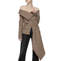 vestes asymétriques achat en gros de-Plaid Irrégulière De L'épaule Femmes Blazer Unique Poitrine Faux Poches Lady Manteau Automne Nouvelle Veste Asymétrique