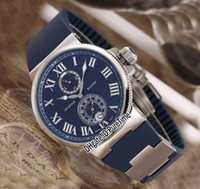 Wholesale marines sports - New Ulysse Marine Maxi 263-67-3 43 Steel Case Blue Dial Date Power Reserve Automatic Mens Watch Blue Rubber Strap Sports Watch 8 Colors UN87