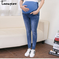 bb9cd3d295dfc Teenster Maternity Clothes Pregnancy Trousers Broken Hole Jeans Summer Thin  Style Pregnant Pants Leggings Maternity Support