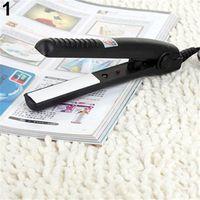 Wholesale new curling iron straightener - 2016 New 2016 NewUS Plug Mini Travel Ceramic Hair Crimper Curl Straightener Flats Iron Perm Splint 165WG07 165WG07