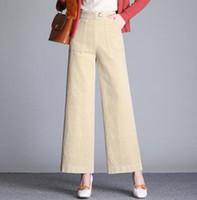 pantalon marron à larges jambes achat en gros de-Pantacourt en velours côtelé décontracté à jambe large pour femmes taille ealstic plus la taille noir blanc rouge rose violet brun automne printemps cok0801