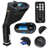 sd kart yuvası usb adaptörü toptan satış-Araç LCD Seti MP3 Stereo Çalar Kablosuz FM Verici Uzaktan USB Şarj Şarj Adaptörü WMA USB SD MMC Kart Yuvası