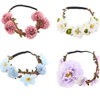 Wholesale performance accessories for sale - Elegant Flowers headband hair headpiece floral garlands wreath hair accessories fro women Wedding or Party performance beach bohemian style