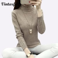 Wholesale knitwear sweaters for women - Wholesale-Thicken Warm Knitting Sweaters And Pullovers For Women 2017 Winter Casual Elastic Turtleneck Knitwear Female Jumper Tricot Tops