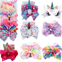 Wholesale baby accessories for sale - 8 inch JOJO bow baby girl hair bows barrettes Rainbow Mermaid Unicorn Design Girl Clippers Girls Hair Clips JOJO SIWA Hair Accessory