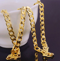 Wholesale wholesale solid gold jewelry - Wholesale Solid 18k Yellow Gold Rope Chains Necklaces For Men S Filled Cuban Curb Necklace Mens Age-old Chain Link Jewelry 7mm