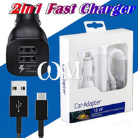 Wholesale Original Car Phone - Original 2.4A USB Car Charger +1.2M Type C 1.5M Micro V8 USB Cable With package for Galaxy S8 S6 HTC LG Android Phone