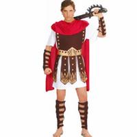 Wholesale brave cosplay online - New Adult Men Fancy Dress Roman Brave Warrior Hercules Soldier Gladiator Arm Guard Cosplay Costume Halloween Makeup Party