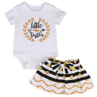 белые детские рубашки-комбинезоны оптовых-0-24M Soft coon Kid Baby Girls Lile Sister Matching White Clothes Romper T-shirt+Short Dress Outfit