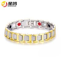 Wholesale Rivet Brass - Classic design male brass round rivet magnetic Cuff bracelet for men healthy element magnetic sports bracelet Wholesale