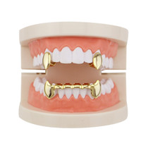 Wholesale Glossy Copper Dental Grillz Punk Vampire Canine Teeth Jewelry Set Hip Hop Women Men Gold Plated Grills Accessories