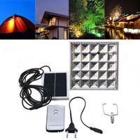 ingrosso ha condotto le lanterne a distanza-25 LED Solar Powered Camping Light Telecomando per esterni Lampada solare per la notte Tenda Luci per lanterne + Porta USB per il telefono