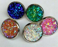 Wholesale Resin Cabochon Wholesale - wholesale 12mm Stainless Steel Resin Fish Scale Earrings Bright Mermaid Scale Cabochon Stud Earrings for Women Jewelry Gift