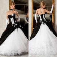 backless hochzeitskleider zum verkauf großhandel-Vintage Black And White Ballkleider Brautkleider Hot Sale Backless Korsett Victorian Gothic Plus Size Hochzeit Brautkleider Günstige
