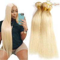 saç 24 sarışın toptan satış-Gaga kraliçe 613 Brezilyalı Düz Saç Demetleri 613 Sarışın İnsan Saç Paketler 100% Saç Uzantıları 3 Paketler