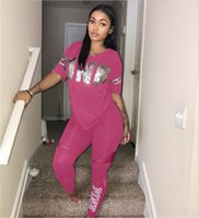 Wholesale Wholesale Hooded T Shirts - Love PINK Letter Tracksuit VS Outfits Women's sportswear Short Sleeve Pullover T shirt with track Pants 2pcs sports Set Suits new 2018
