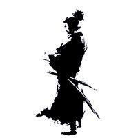 ingrosso nero ninja d'argento-12 cm * 23.6 cm Samurai Design Ninja Orientale Spada Moda Vinile Adesivo Auto Decalcomanie Nero / Argento Accessori S6-4037