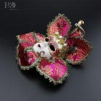 tam zencefil maskeleri toptan satış-Cadılar bayramı Partisi Jester Joker Tam Yüz Kadınlar Masquerade Dekoratif Venedik Parti Maskesi Masquerade Mardi Gras Sanat Koleksiyonu