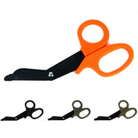 Wholesale first stainless steel - 4 Pieces EDC Rescue Bandage Scissor Multi-function Stainless Steel Shear Outdoor First Aid Shears With Tough Plastic Handle Free DHL G672F