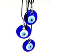Wholesale glass evil eye necklace - Turkey Kabbalah Glass Evil Eye Nazar Pendants Necklace Vintage Silvers Charms Choker Necklace Pendants Women Fashion Jewelry Accessories NEW