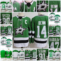 Wholesale Dallas Hockey Jerseys - Mens 2018 NEW Dallas Stars Jamie Benn Jersey 47 Alexander Radulov 91 Tyler Segui 90 Jason Spezza Dallas Stars 25th Centennial Patch Jersey