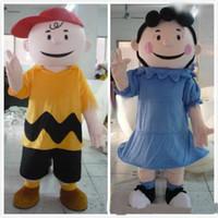 Wholesale mascot human - 2018 High quality EVA Material Helmet in-kind shooting cartoon character Charliee Brown mascot Lucyi adult human costume