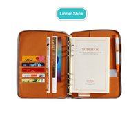 Wholesale Leather A5 Notebook - kemila Portable A5 A6 Leather Notebook Binder Spiral Notebook Diary Journal Planner Agenda Large Capacity Padfolio Zipper bag