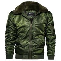 mens army parka toptan satış-ABOORUN Kış Erkek Bombacı Ceketler Ordu Kalın Polar Kürk Yaka Ceketler erkek Moda Sıcak Ceket Parkas x1259