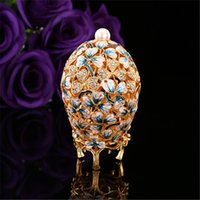 Wholesale Egg Plant - Qifu Beautiful Leaf Painting Gift Crafts Made By Metal Mediterranean Decor Garden Decoration Faberge Egg