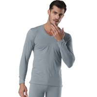 conjunto de hombre ropa interior térmica al por mayor-Winter Pullover Men Thermal Underwear Set Negro gris con cuello en V Seamless Winter Warm Tops Pants 2 piezas Male Clothing Set Nuevo