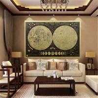 fondos de pantalla únicos al por mayor-1 unids Moon Vintage Paper Wall Sticker Decal Wall Poster Globe Wallpaper Única Decoración Del Hogar Venta Caliente