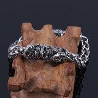 mıknatıs zincirleri toptan satış-Paslanmaz Çelik Erkek Mıknatıs Bilezik Ile Yılan Taç Tasarım Kafatası Manşet Bilezik Erkekler Için paslanmaz çelik takı zincirleri