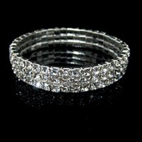 Wholesale Jewelry For Prom - 2018 New Fashion 3 Row Rhinestone Bangle Wedding Bracelets Bridal Jewelry Bracelet for Wedding Party Evening Prom Cheap In Stock