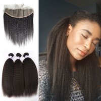 Wholesale kinky hair weave for blacks resale online - Hot Selling Peruvian x4 Lace Frontal With Bundles Kinky Straight Natural Human Hair Weft Natural Black For Black Women G EASY